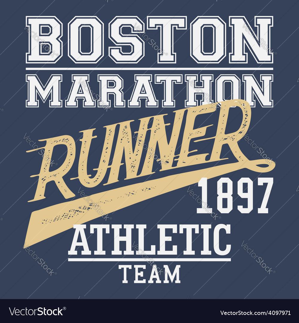 Boston marathon runner tshirt vector