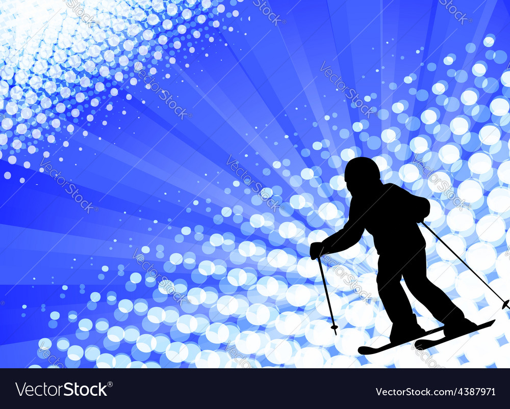 Child skiing on the abstract background vector | Price: 1 Credit (USD $1)