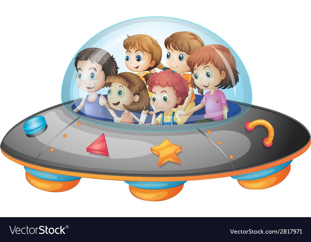 Children in spaceship vector | Price: 3 Credit (USD $3)