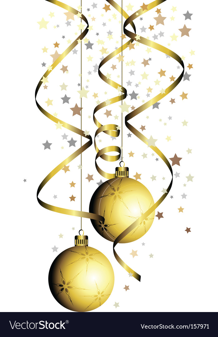 Christmas ball with curly ribbon vector | Price: 1 Credit (USD $1)