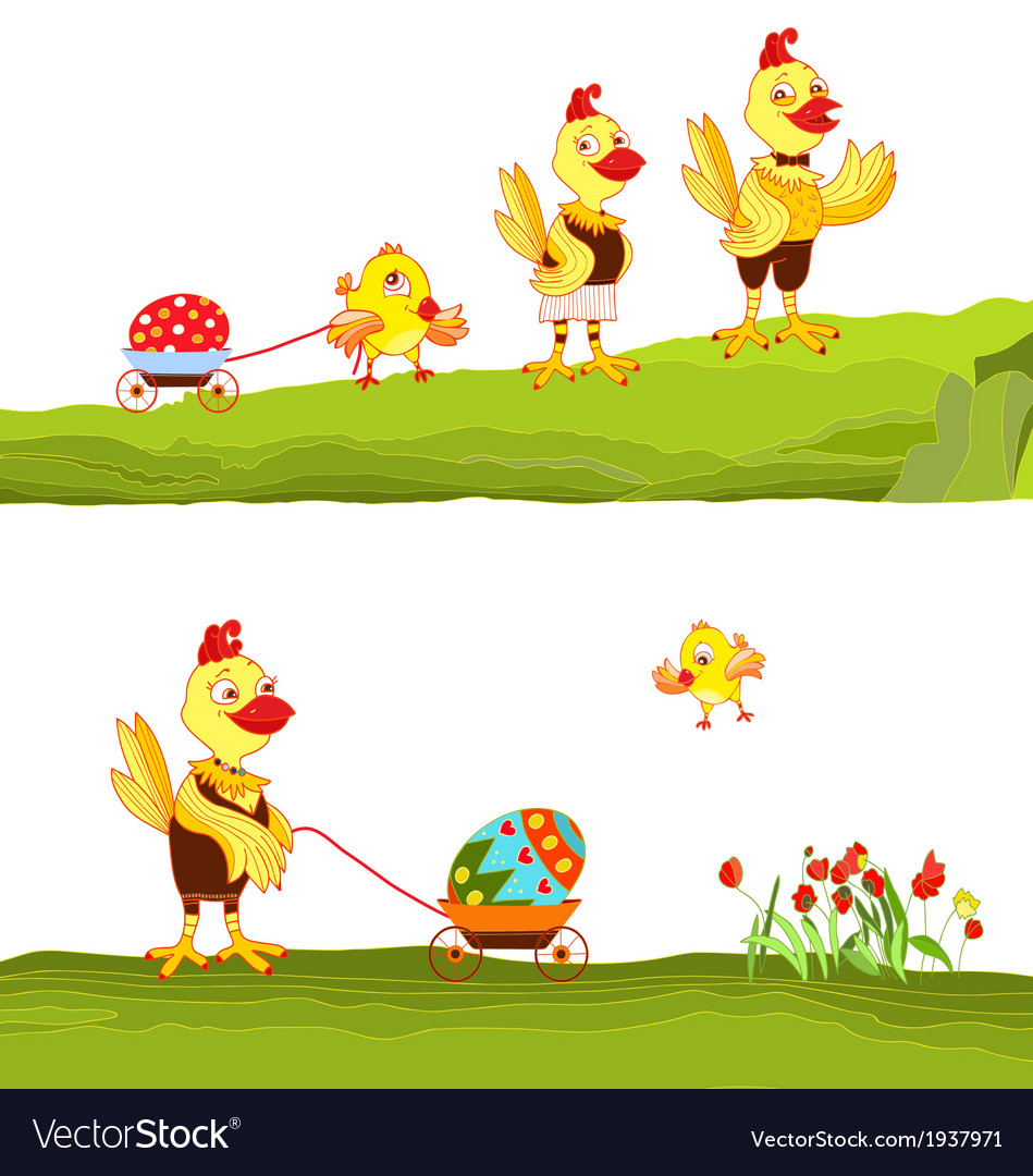 Happy easter family vector   Price: 1 Credit (USD $1)