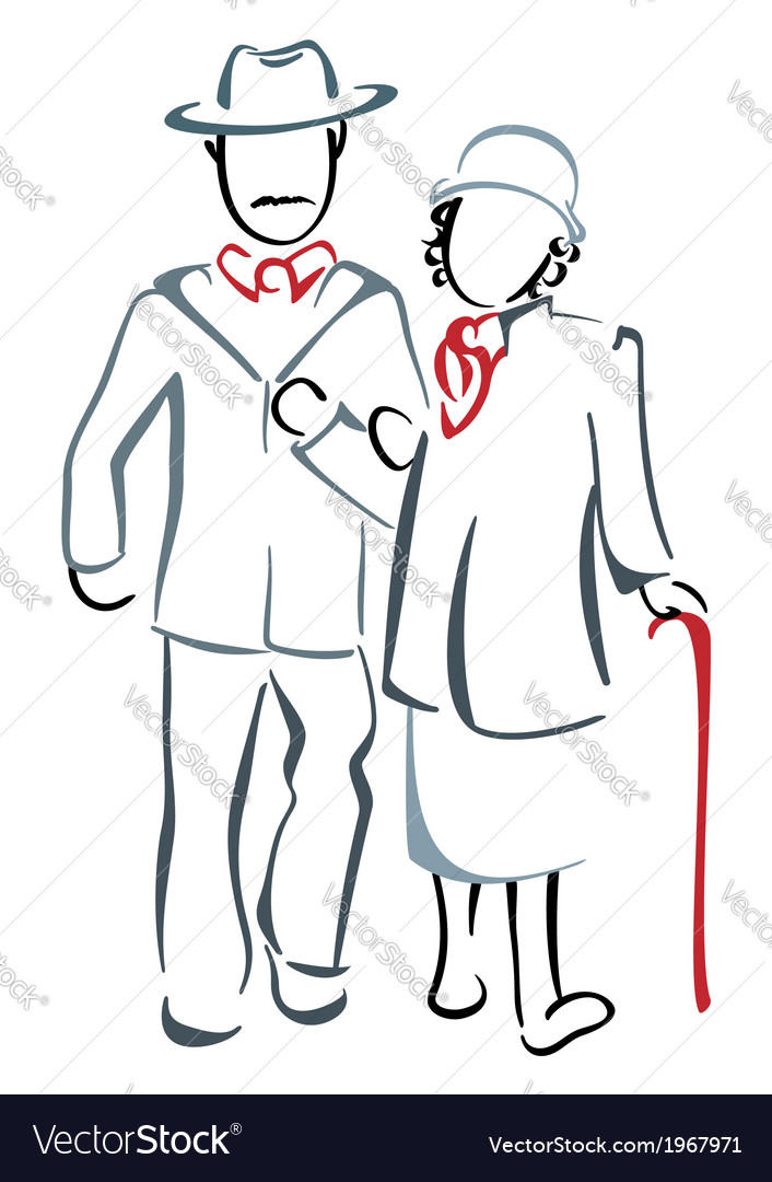 Senior couple vector | Price: 1 Credit (USD $1)