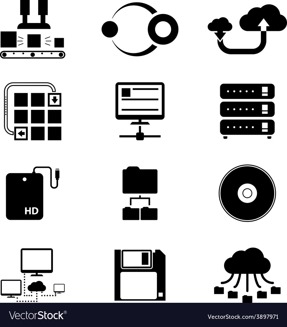 Storage and data transfer icons on white vector | Price: 1 Credit (USD $1)