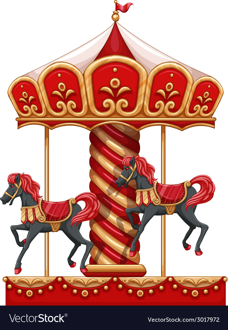 A carousel ride with horses vector | Price: 3 Credit (USD $3)
