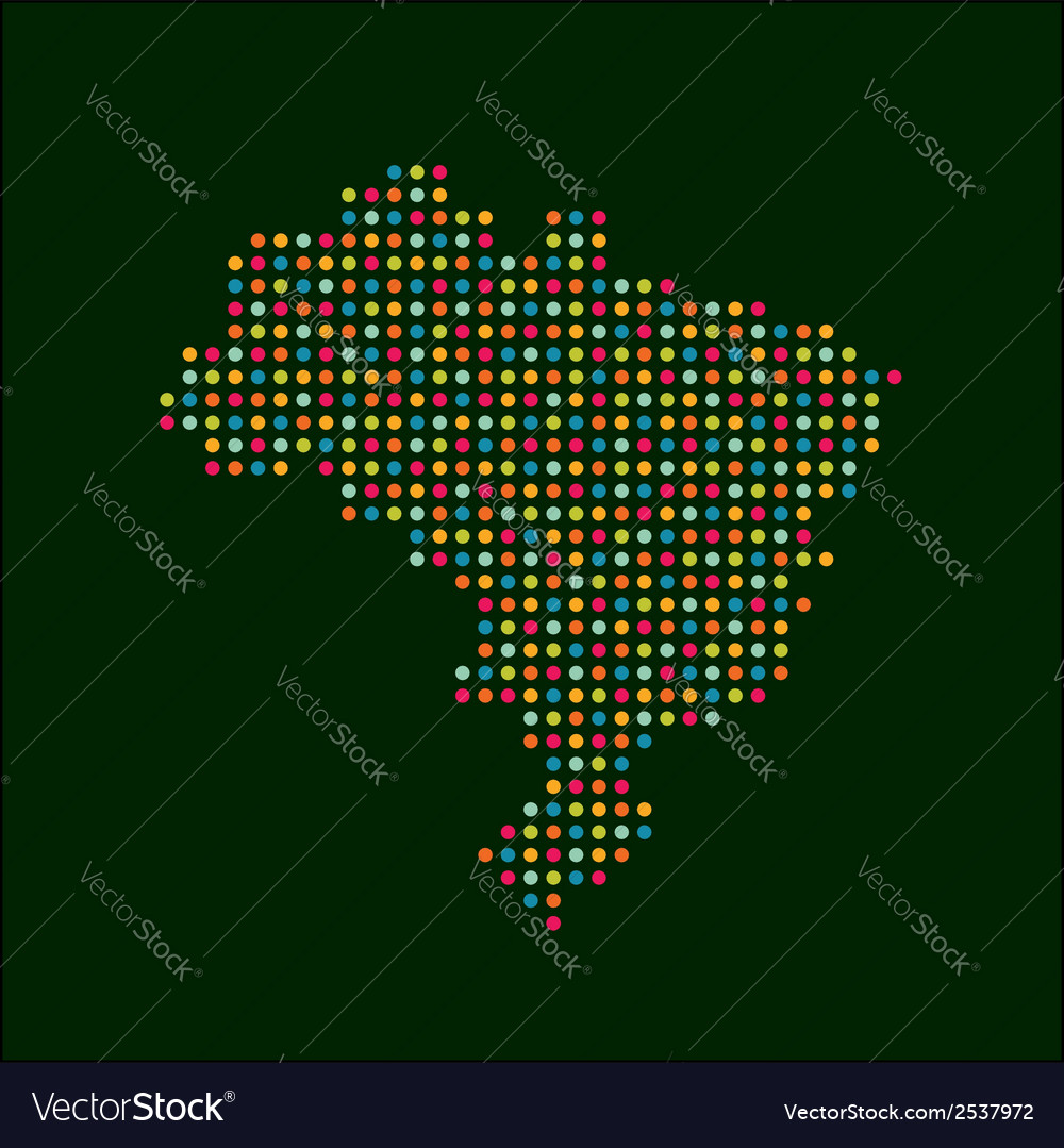 Brazil color dot map abstract style vector | Price: 1 Credit (USD $1)
