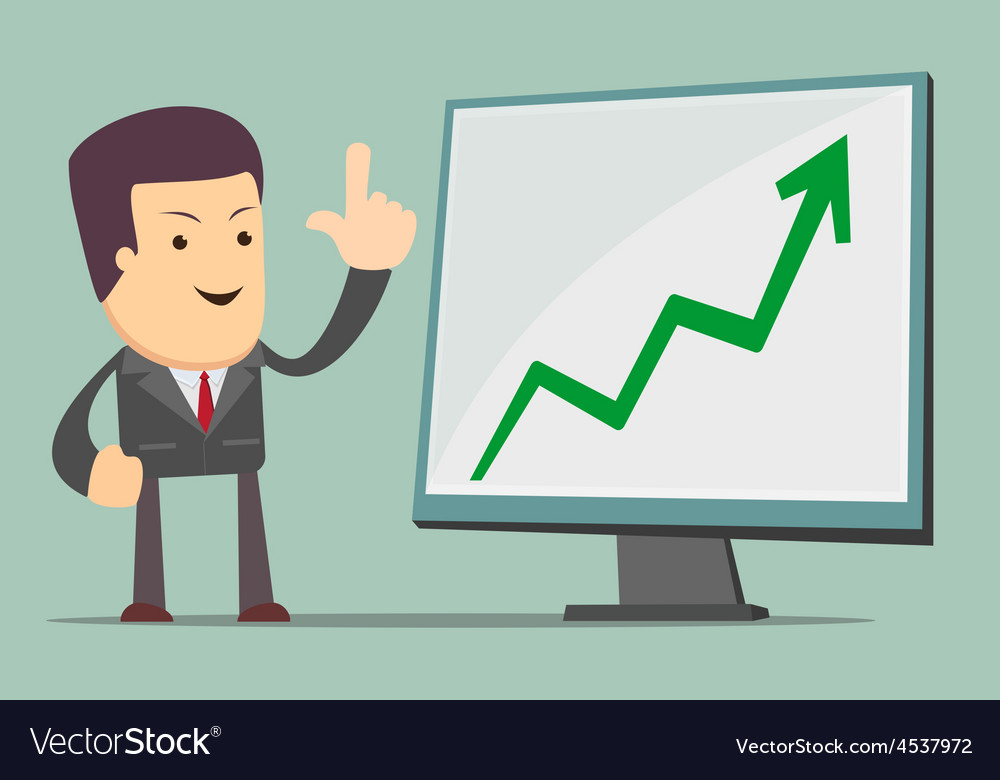 Businessman presenting business growth chart vector | Price: 1 Credit (USD $1)