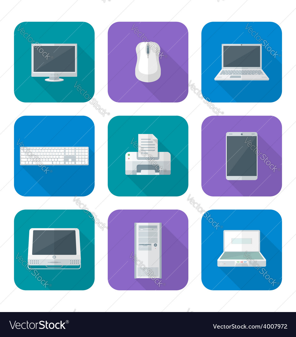 Colored computer gadgets icons flat vector | Price: 1 Credit (USD $1)