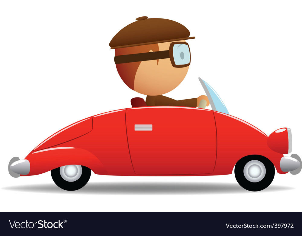 Driver in the red car vector | Price: 1 Credit (USD $1)