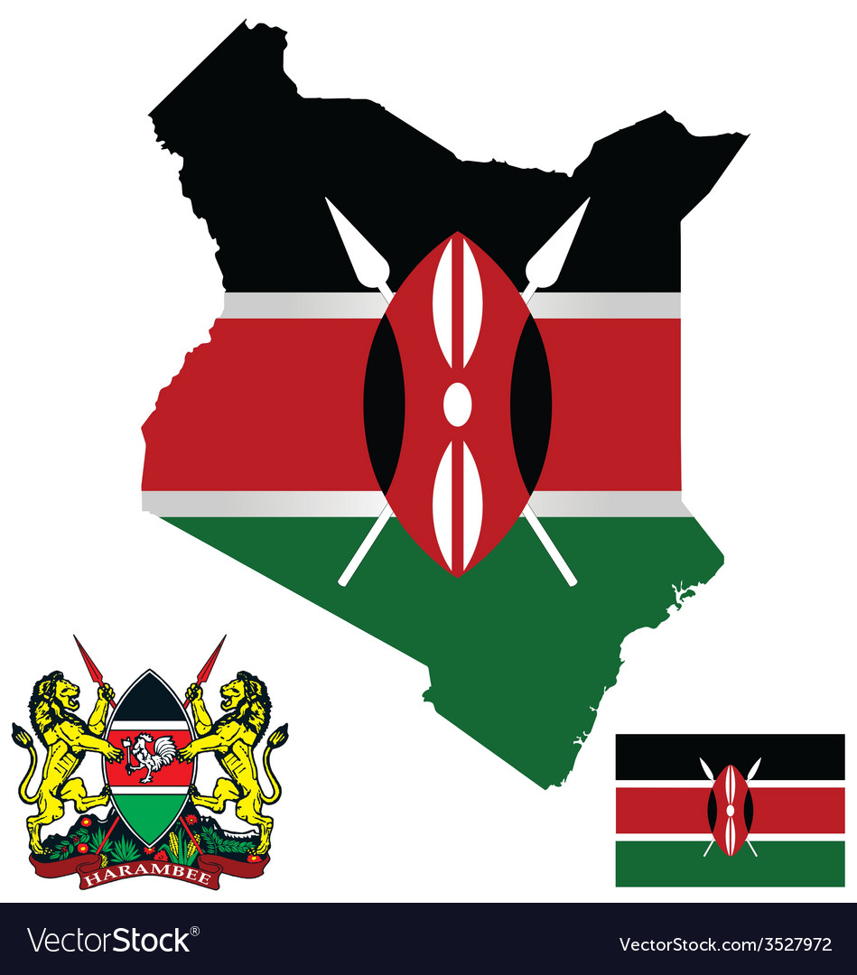 Kenya flag vector | Price: 1 Credit (USD $1)