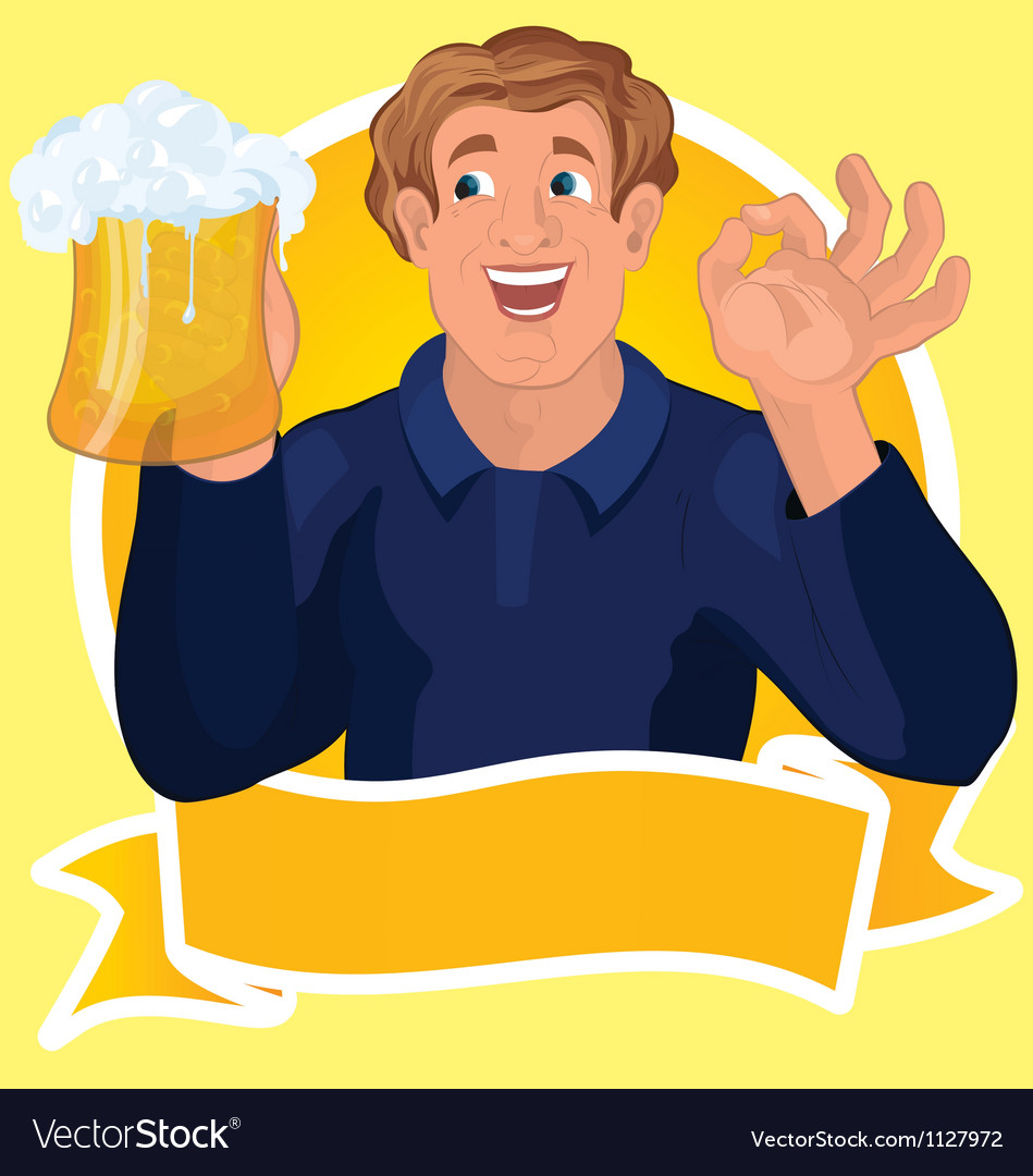 Man with beer ribbon vector   Price: 1 Credit (USD $1)