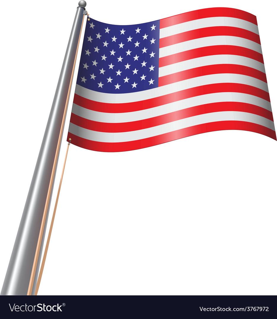 Us flag on pole vector | Price: 1 Credit (USD $1)