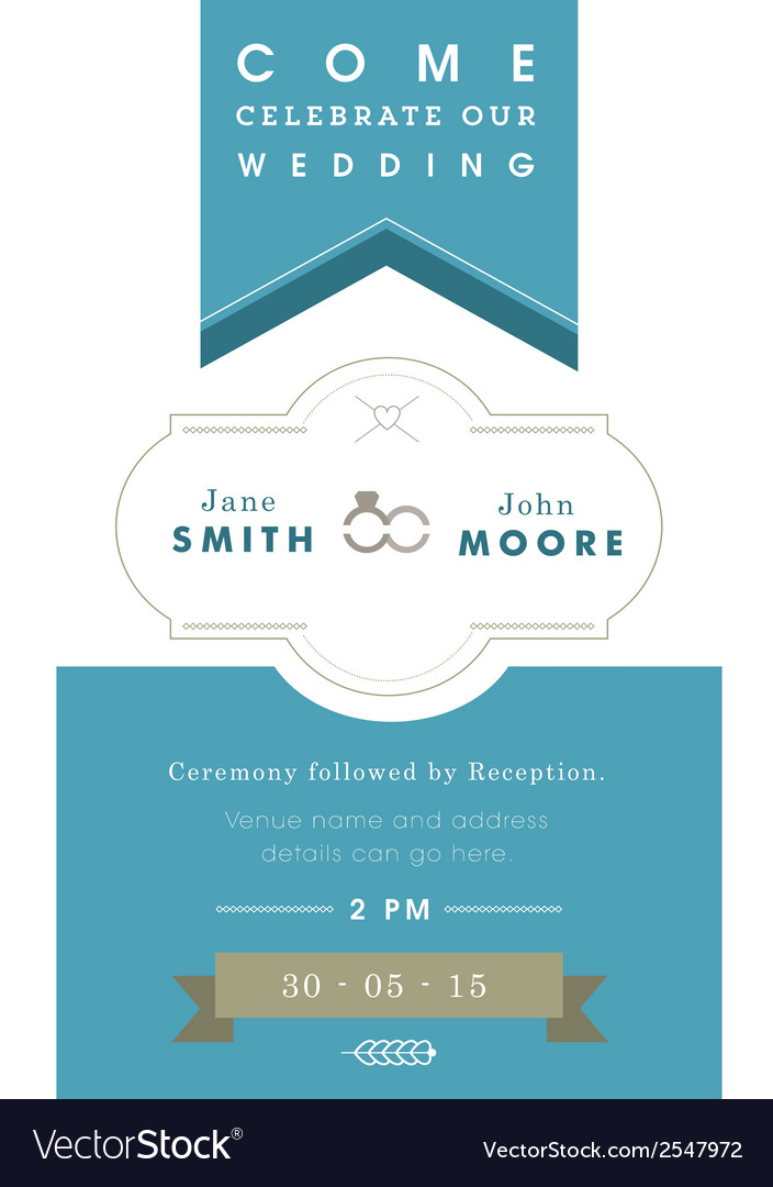 Wedding invitation blue ribbon theme vector | Price: 1 Credit (USD $1)