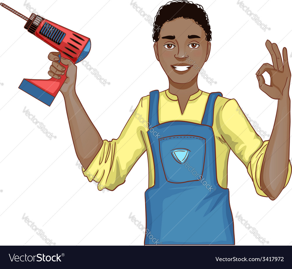 Young handsome african american man with drill vector | Price: 1 Credit (USD $1)