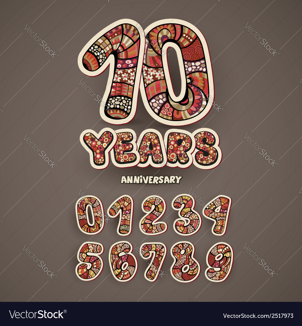 Anniversary numbers set vector | Price: 1 Credit (USD $1)