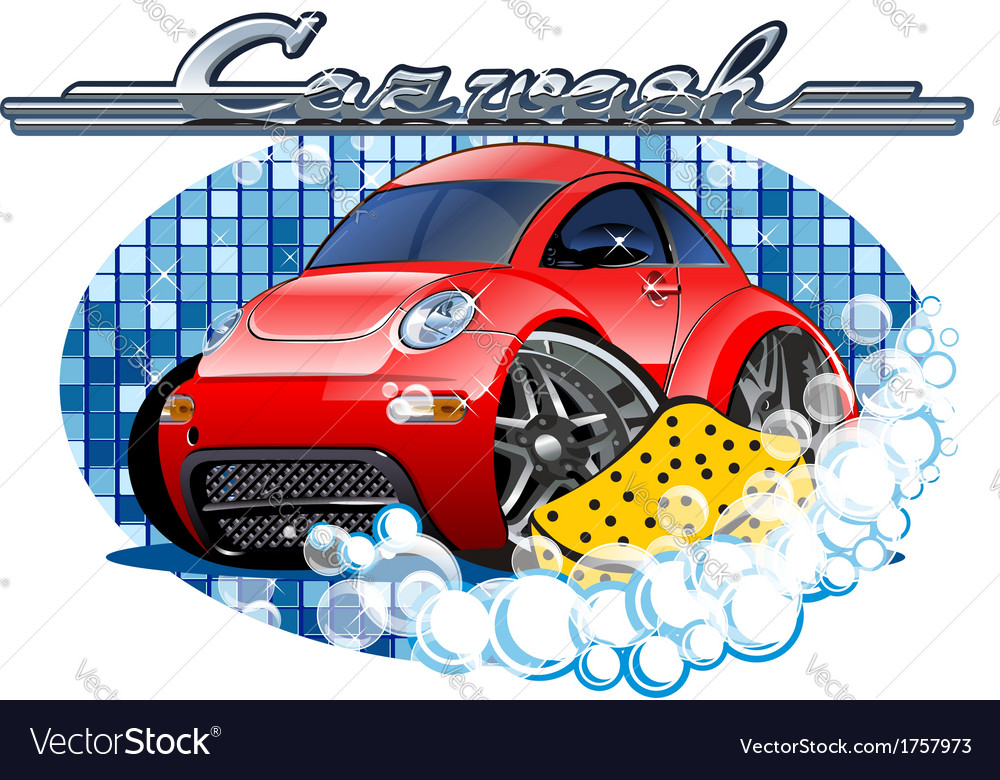 Car washing sign with sponge vector | Price: 5 Credit (USD $5)