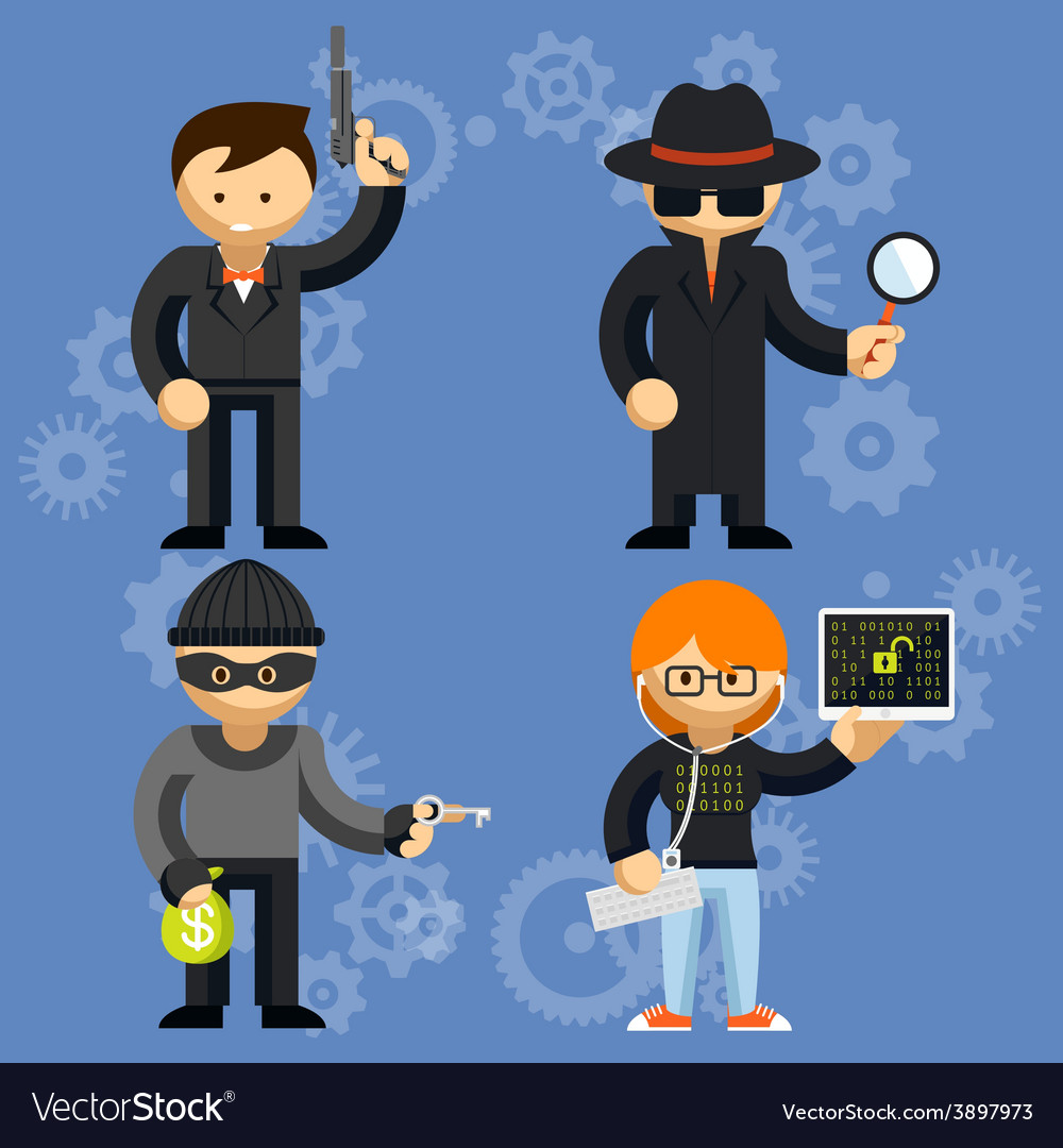 Characters involved in criminal activities vector | Price: 1 Credit (USD $1)