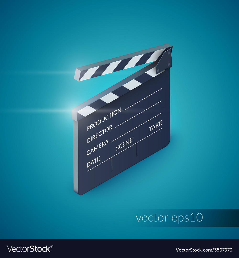 Clapperboard realistic vector | Price: 1 Credit (USD $1)