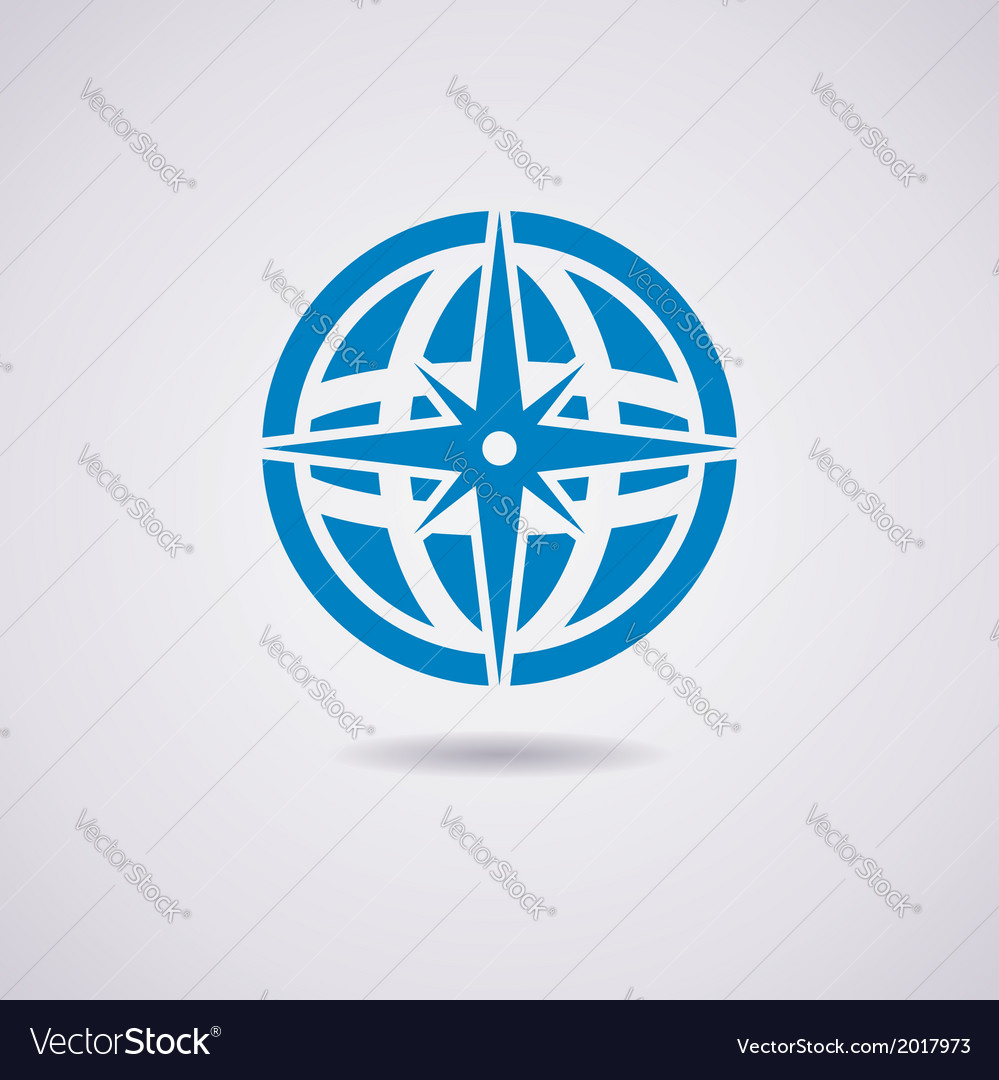 Earth globe and compass vector | Price: 1 Credit (USD $1)