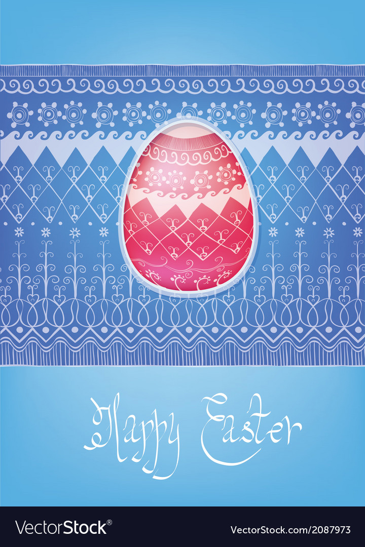 Easter folk ornament egg hand-drawn typography vector | Price: 1 Credit (USD $1)