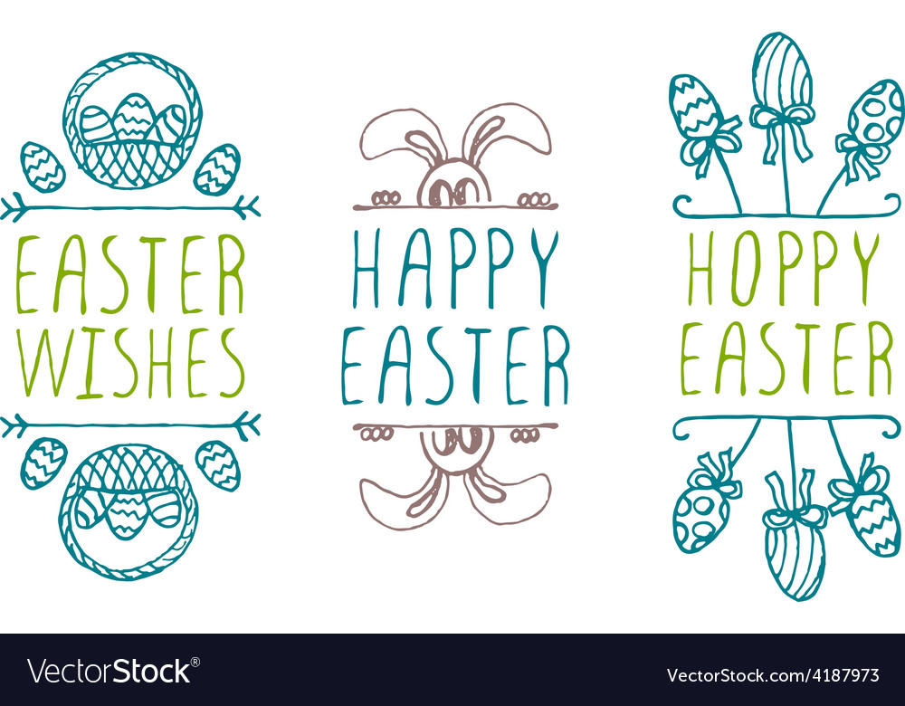 Hand-sketched easter typographic elements vector | Price: 1 Credit (USD $1)