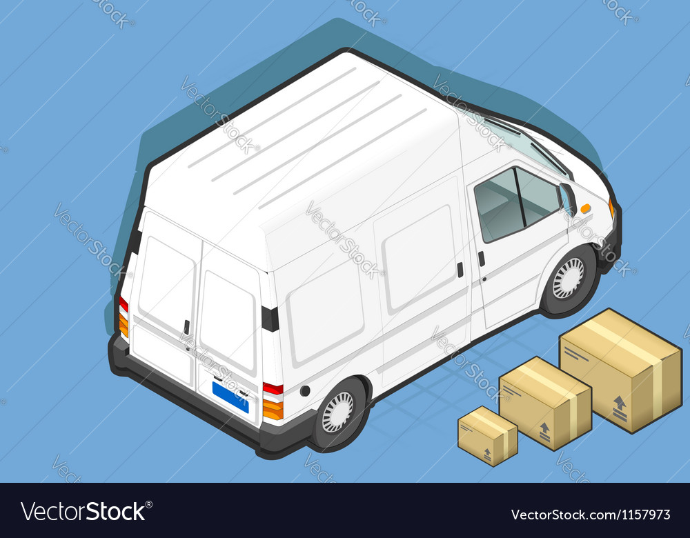 Isometric white van in rear view vector | Price: 1 Credit (USD $1)