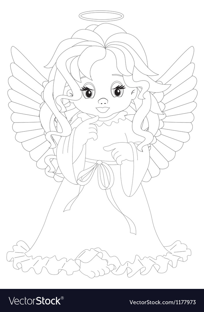 Little angel coloring page vector | Price: 1 Credit (USD $1)