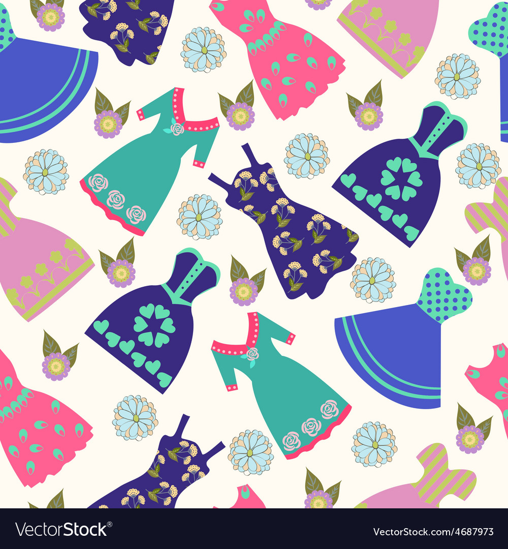 Pattern of summer lady dress collection vector | Price: 1 Credit (USD $1)