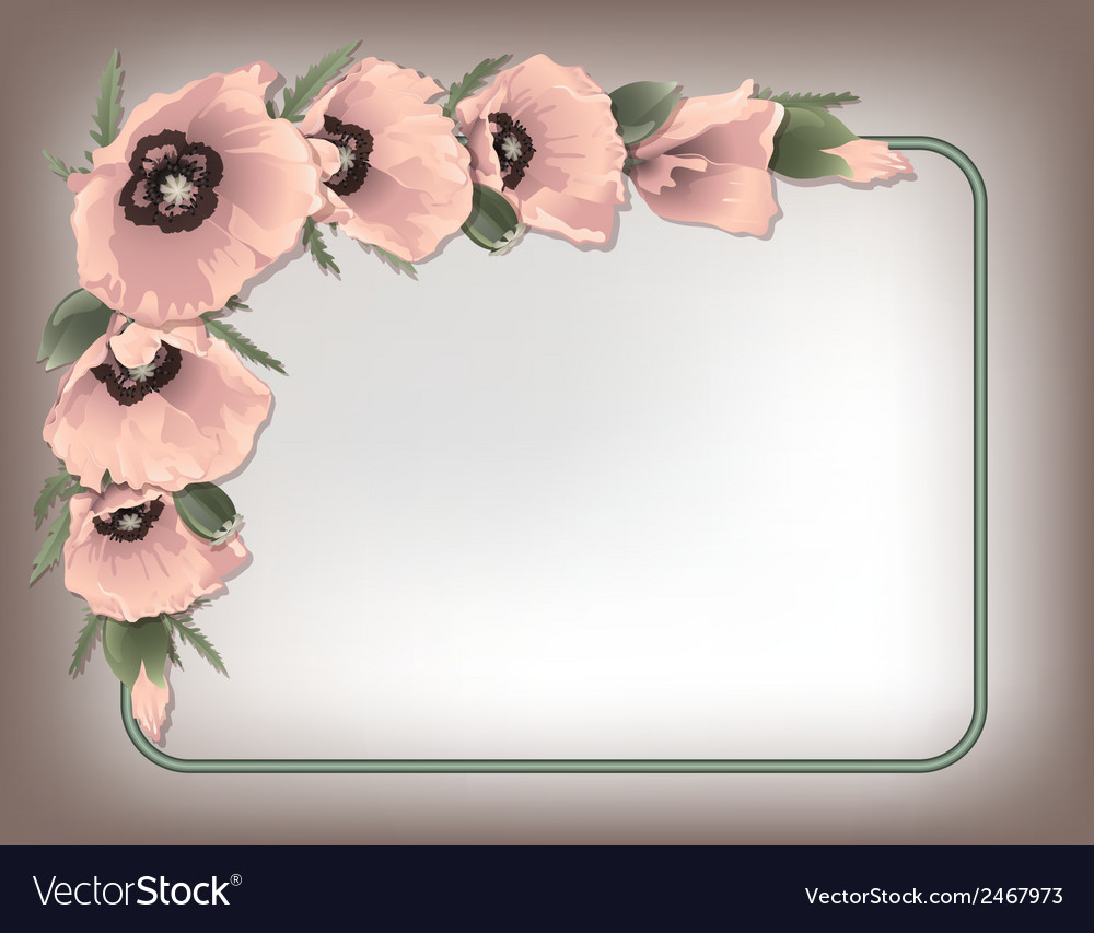 Pink poppies floral frame vector | Price: 1 Credit (USD $1)