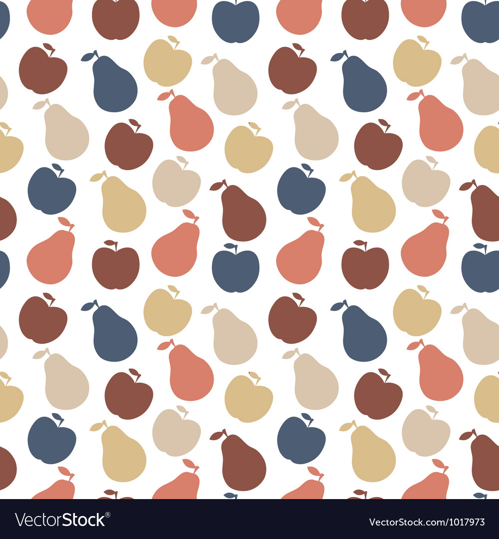 Seamless pattern of fruit - apple and pear vector | Price: 1 Credit (USD $1)