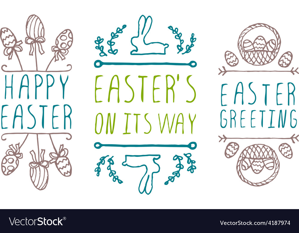 Hand-sketched easter typographic elements vector   Price: 1 Credit (USD $1)