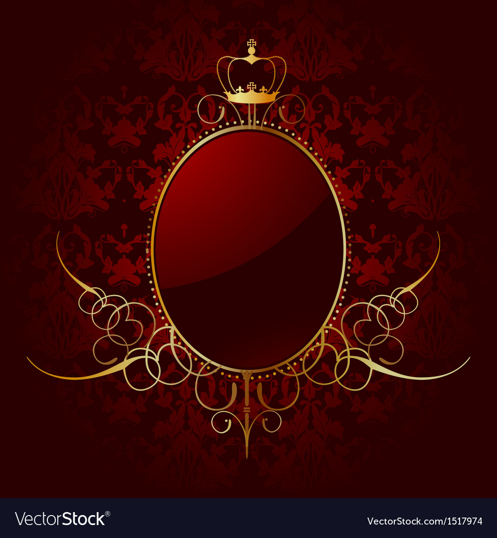 Royal red background with golden frame vector | Price: 1 Credit (USD $1)