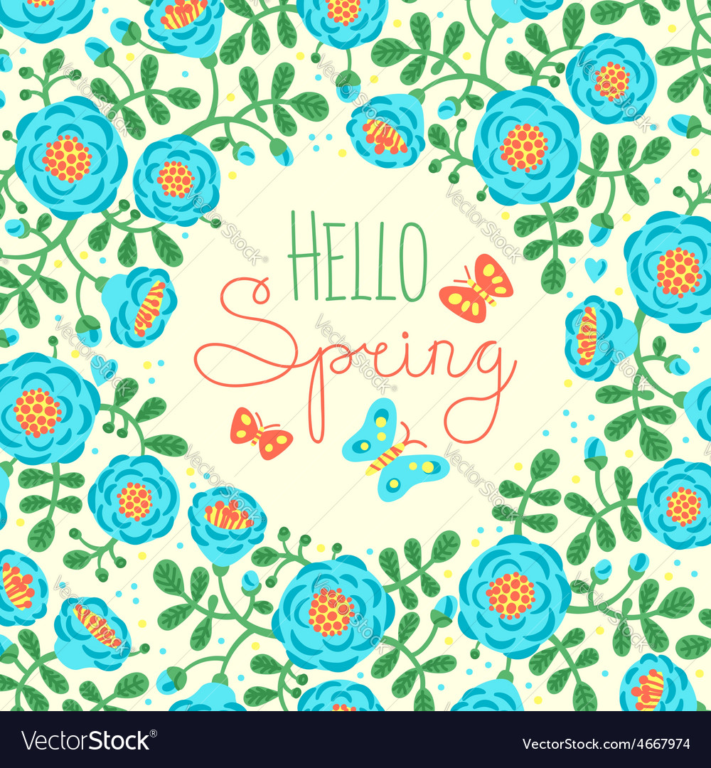 Season card hello spring with cute flowers and vector | Price: 1 Credit (USD $1)