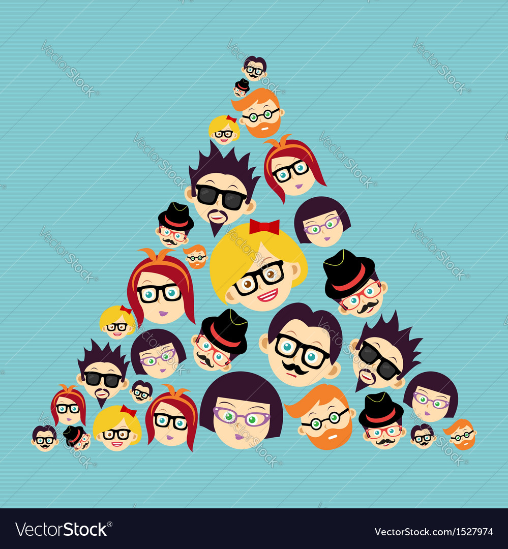Vintage hipsters faces triangle vector | Price: 1 Credit (USD $1)