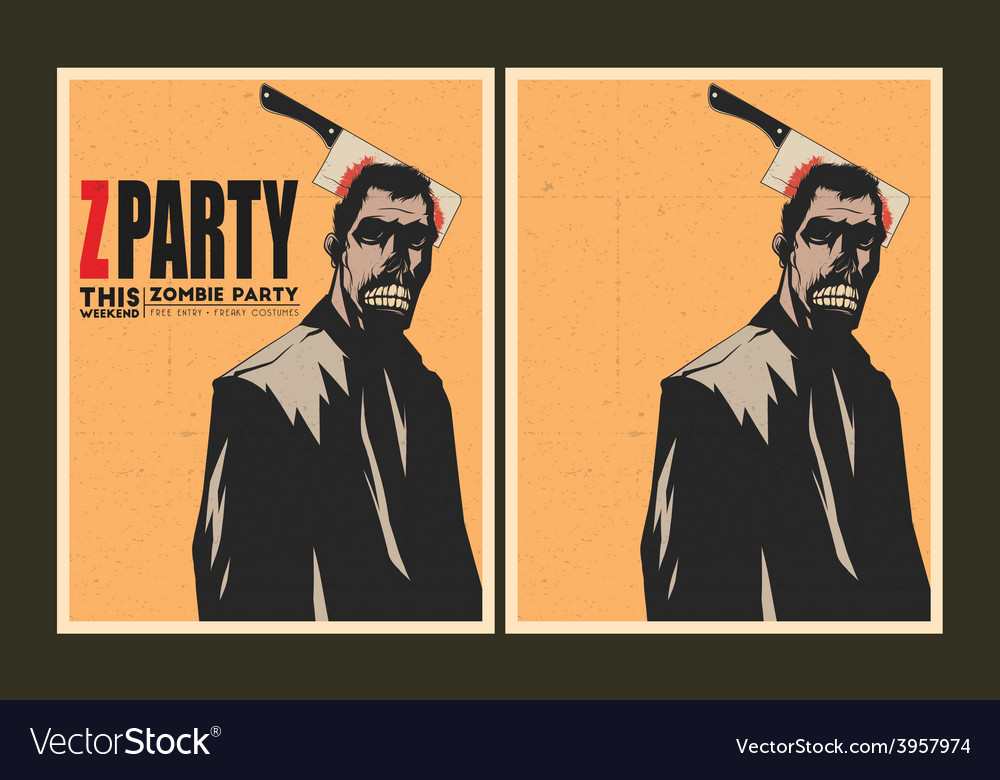 Zombie party invitation template vector | Price: 3 Credit (USD $3)