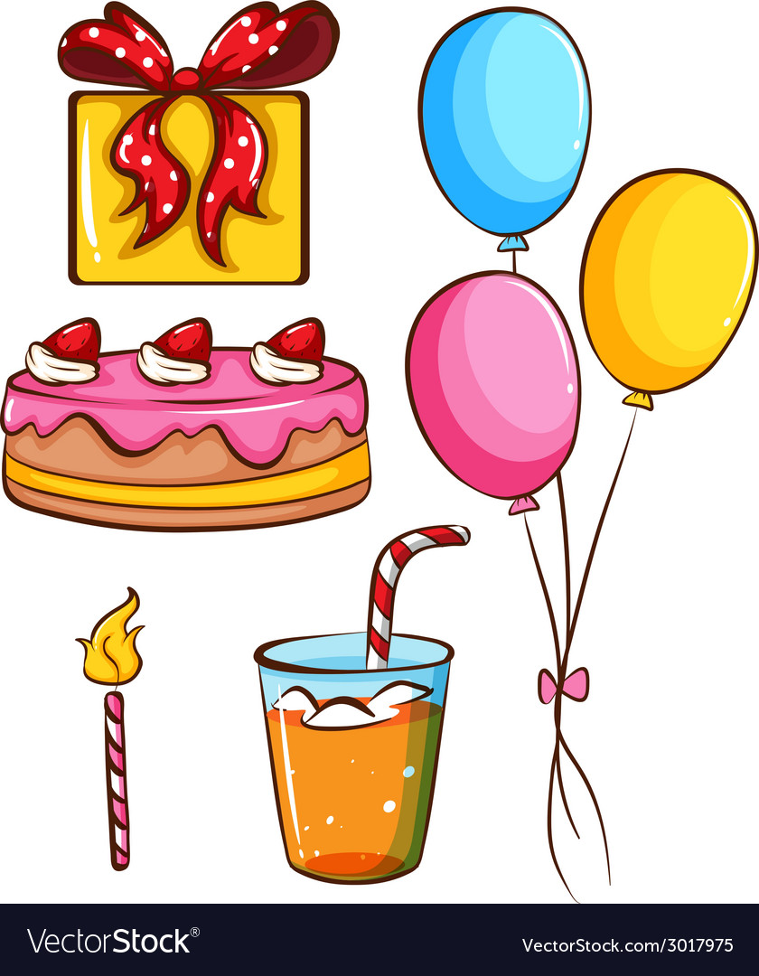 A simple coloured sketch of a birthday celebration vector | Price: 1 Credit (USD $1)