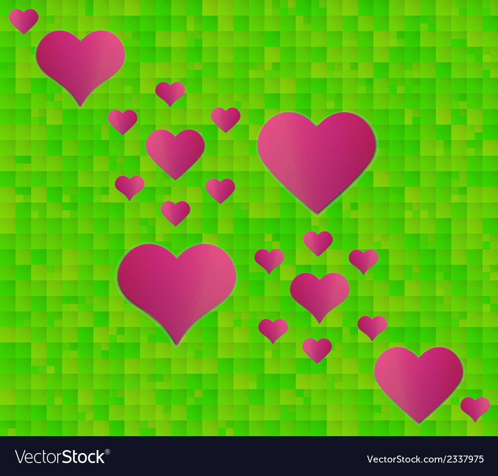 Abstract green background with squares and red vector | Price: 1 Credit (USD $1)