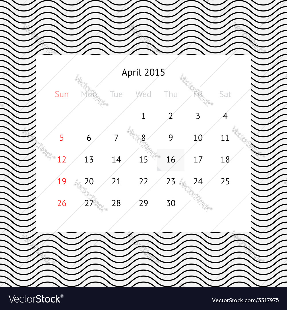 Calendar page for april 2015 vector   Price: 1 Credit (USD $1)