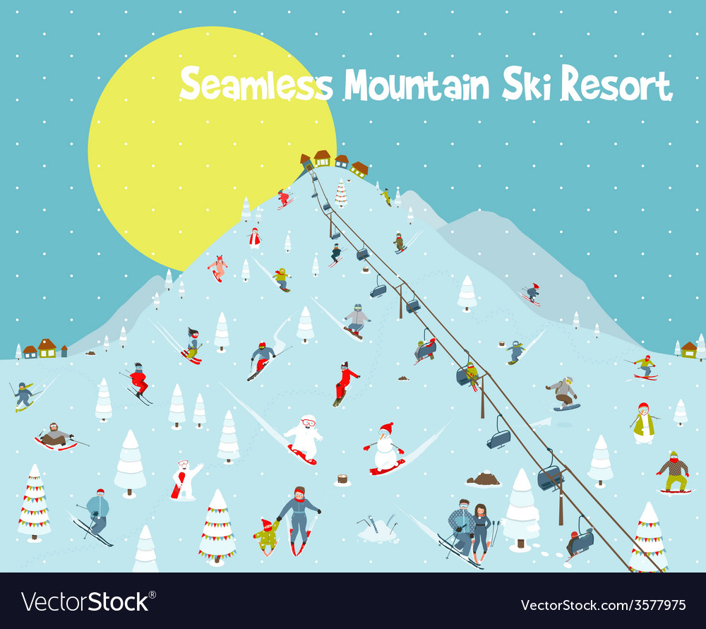 Cartoon mountains skyline ski resort seamless vector | Price: 1 Credit (USD $1)