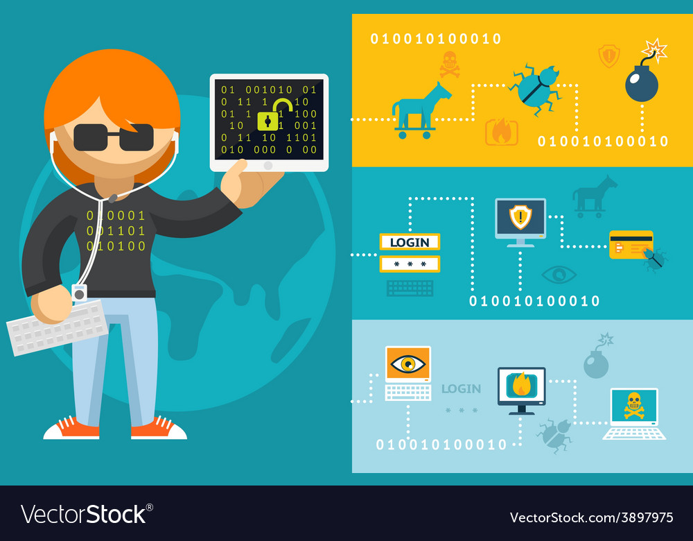Computer hacker and accessories icons vector | Price: 1 Credit (USD $1)