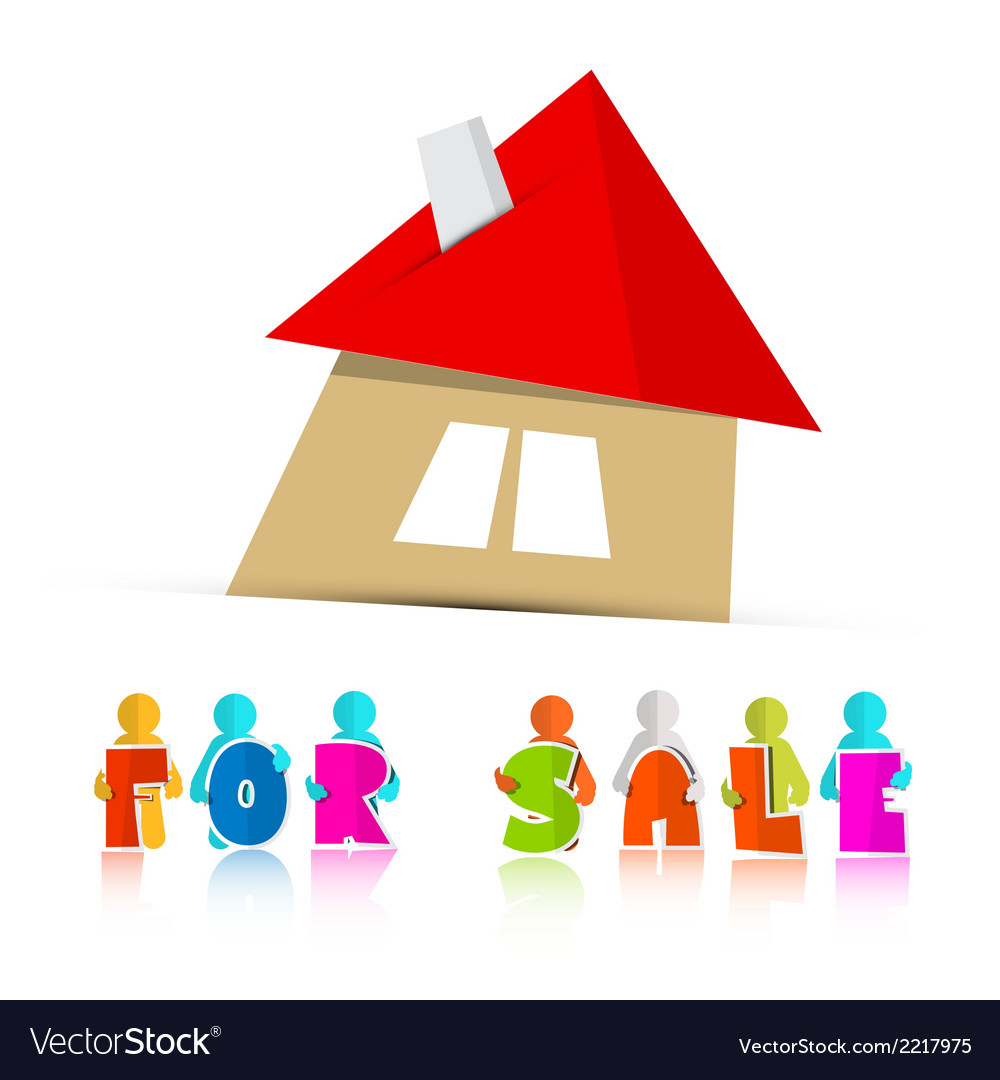 House for sale paper icon isolated on white vector | Price: 1 Credit (USD $1)