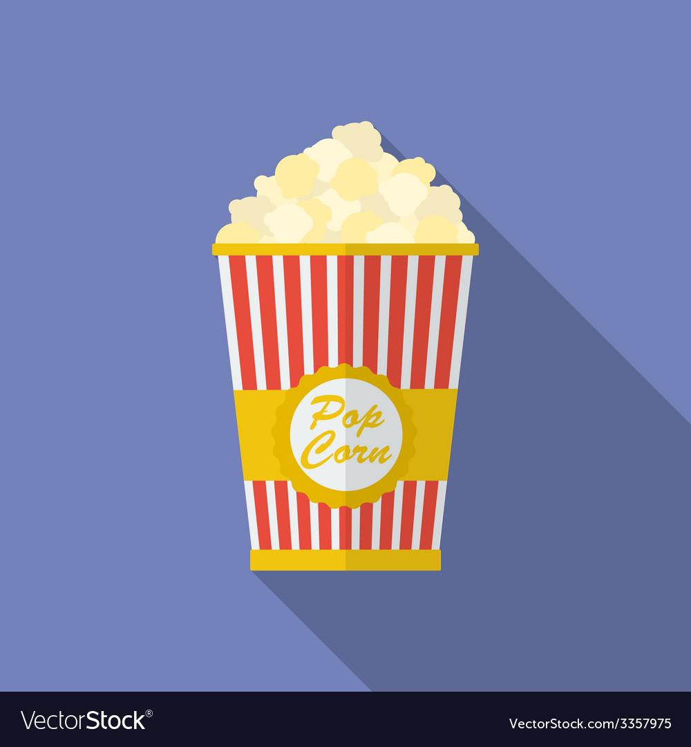Icon of popcorn flat style vector | Price: 1 Credit (USD $1)