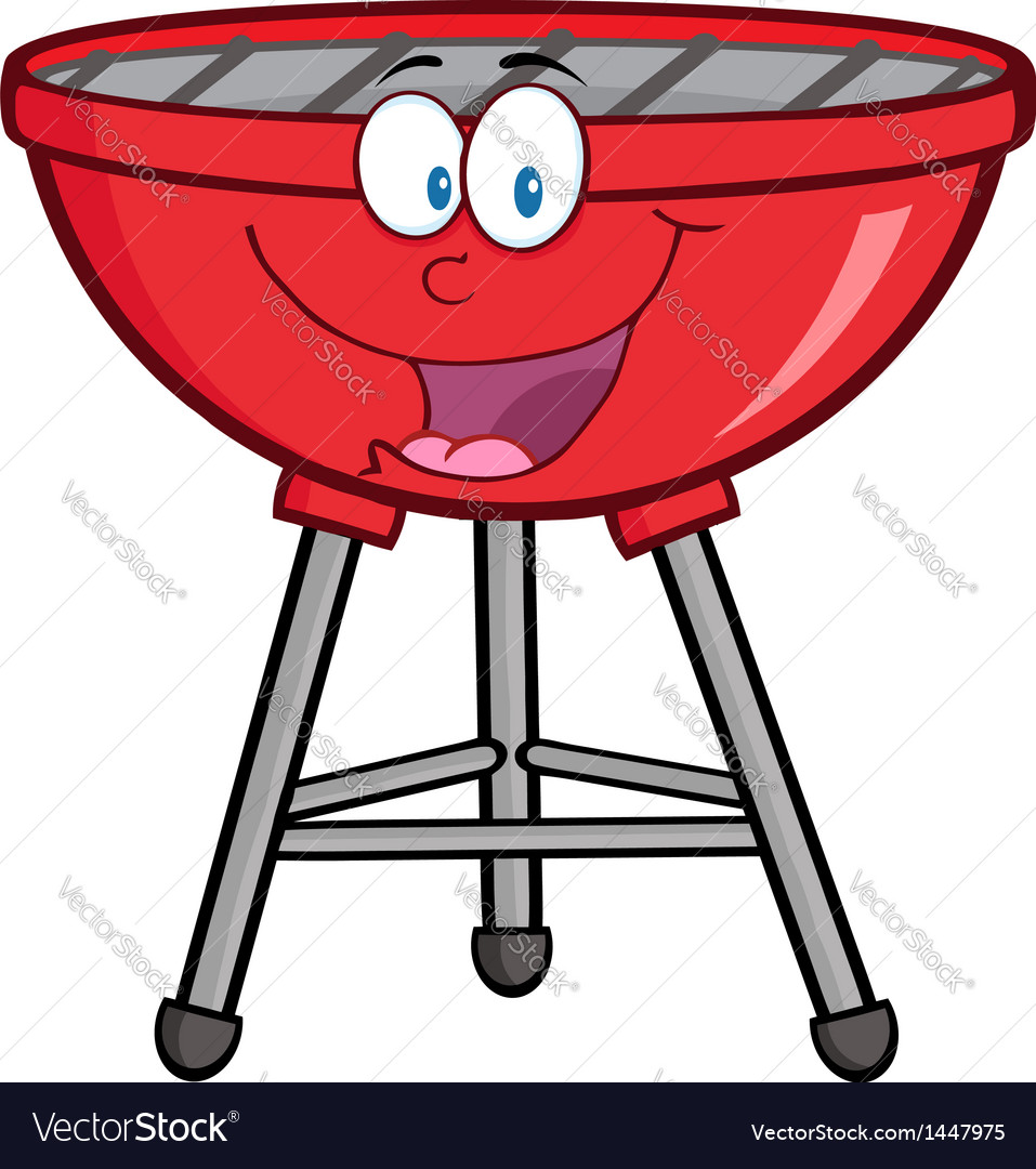 Red barbecue cartoon mascot character vector | Price: 1 Credit (USD $1)