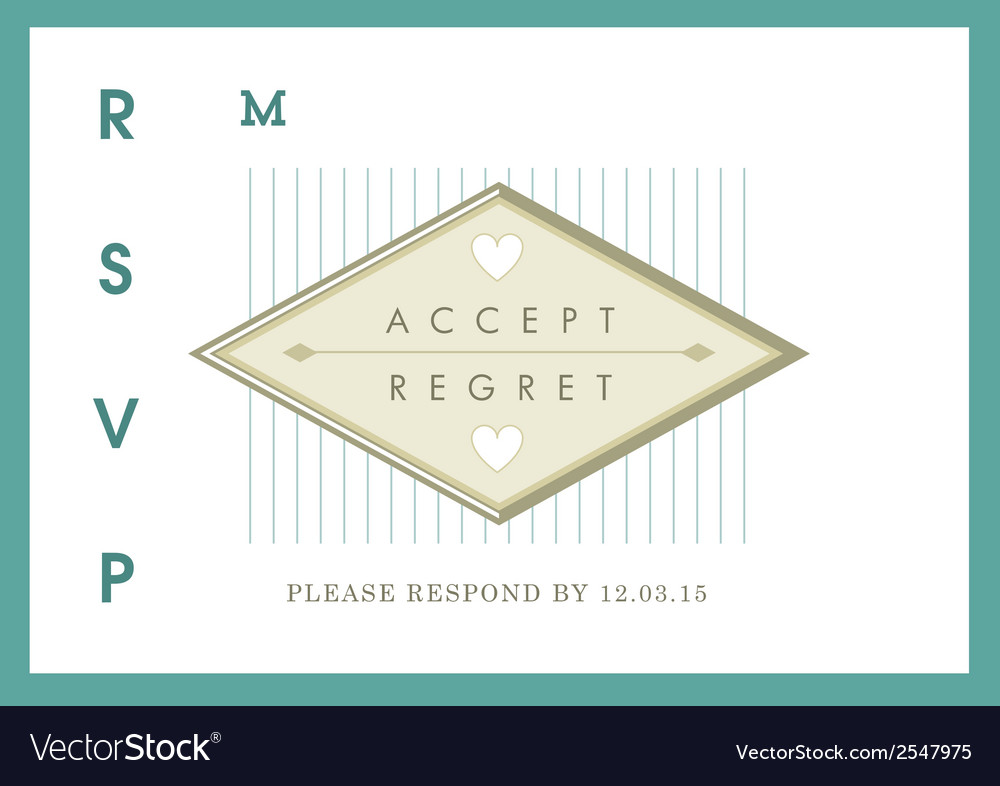 Rsvp wedding card green ribbon theme vector | Price: 1 Credit (USD $1)