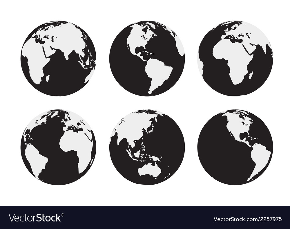 Six black and white earth globes vector | Price: 1 Credit (USD $1)