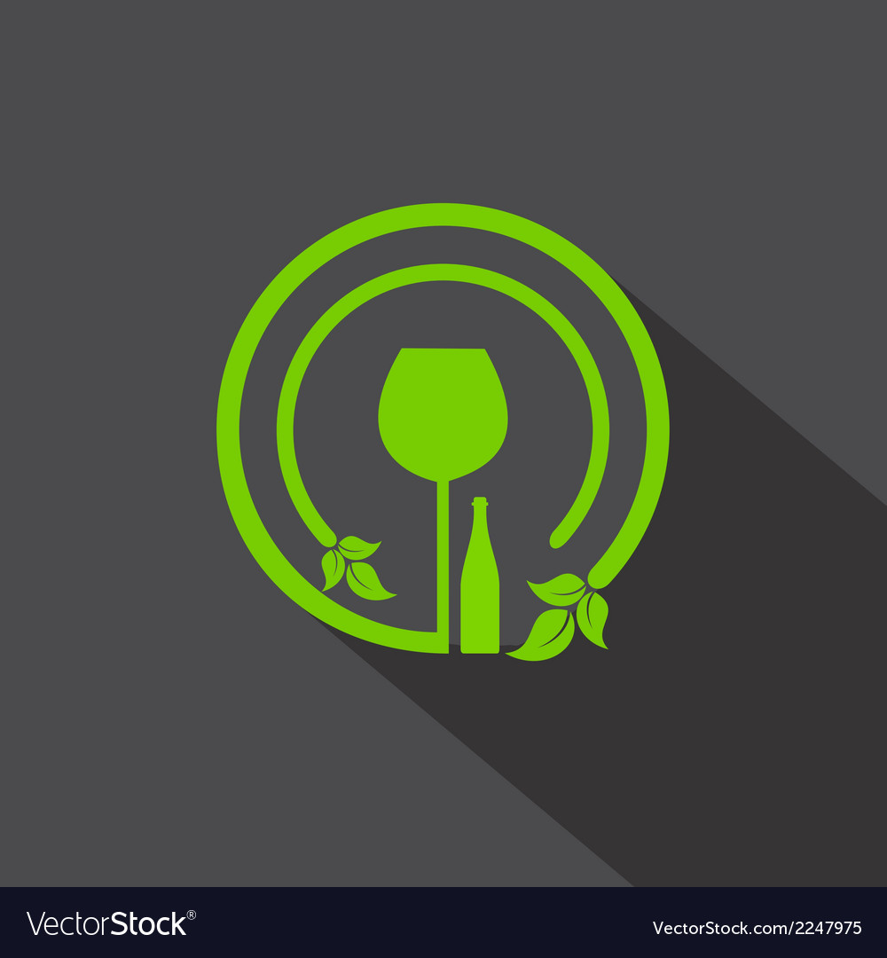 Wine glass and bottle icon with leaf vector | Price: 1 Credit (USD $1)