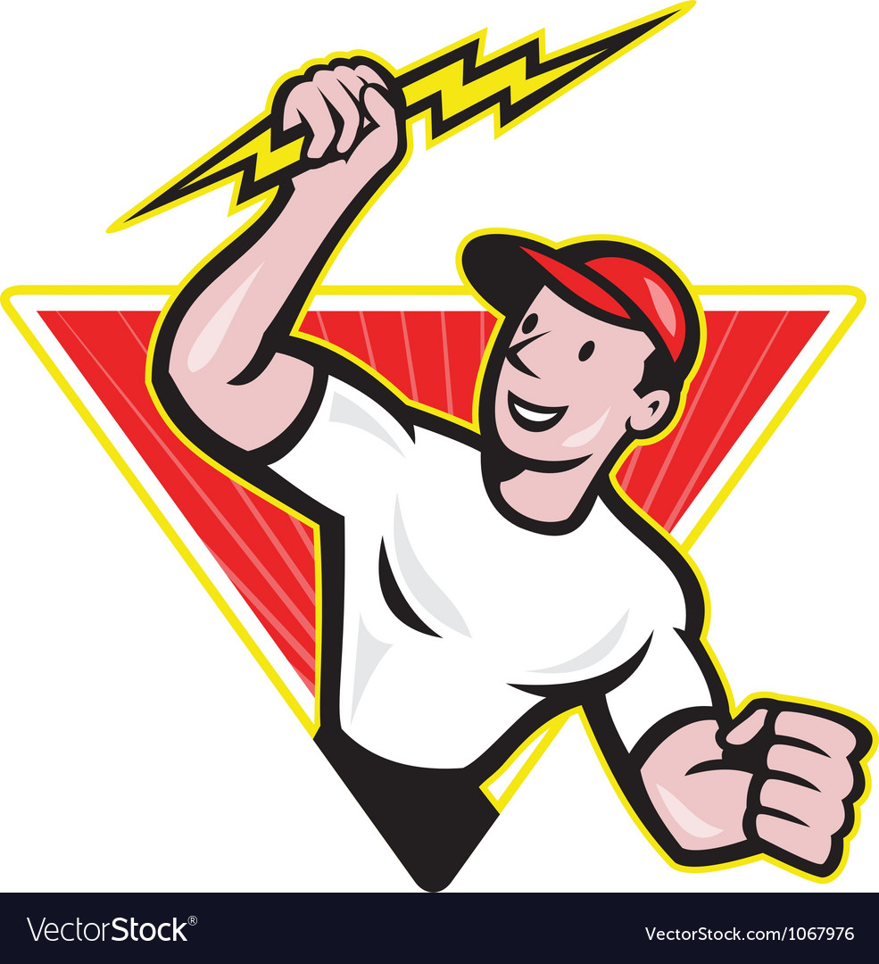 Electrician construction worker cartoon vector | Price: 3 Credit (USD $3)