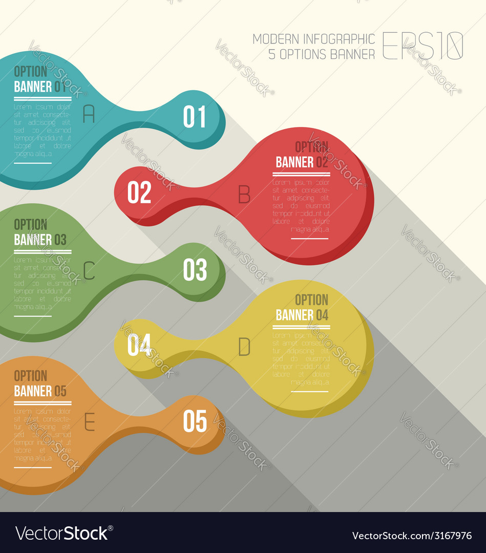 Five option banner infographic vector | Price: 1 Credit (USD $1)