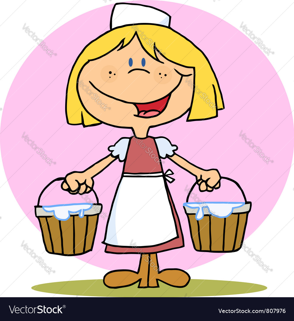 Friendly blonde maid carrying milk buckets vector | Price: 1 Credit (USD $1)