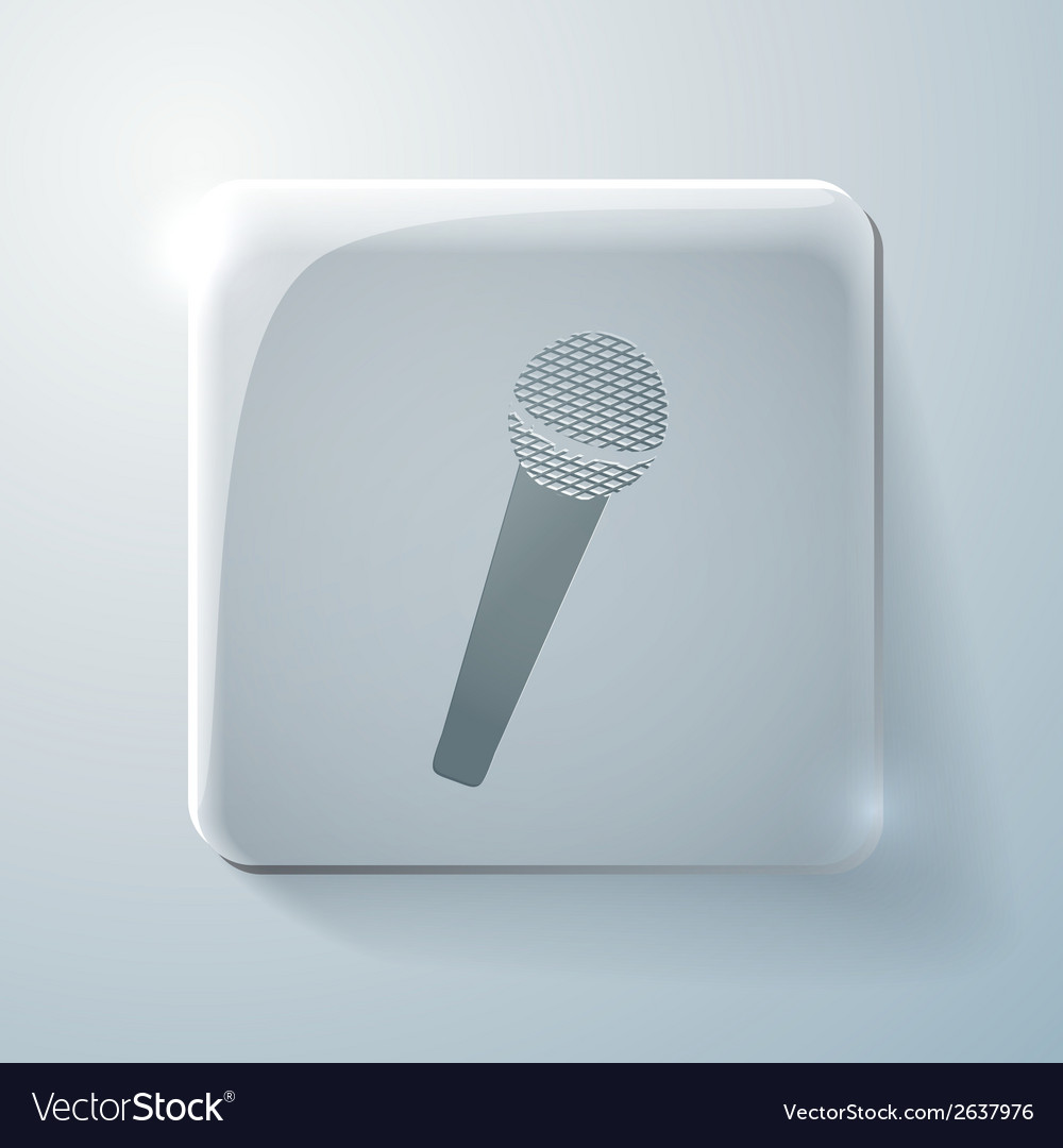 Microphone glass square icon vector | Price: 1 Credit (USD $1)