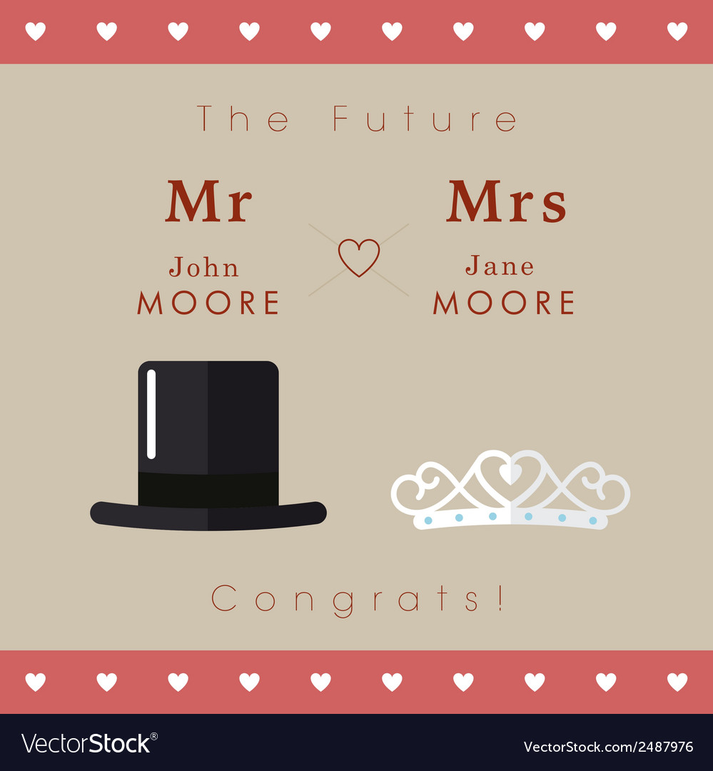 Mr and mrs wedding card vector | Price: 1 Credit (USD $1)